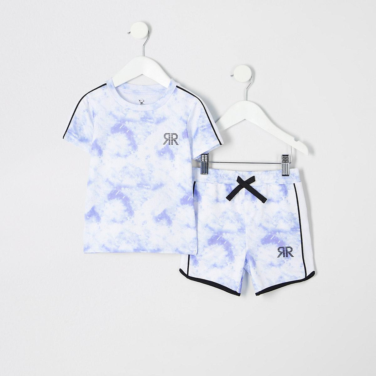 Mini boys blue cloud print T-shirt outfit