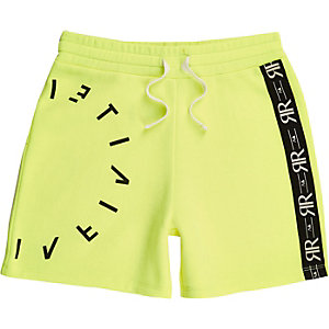 Boys RI Active neon yellow jersey shorts