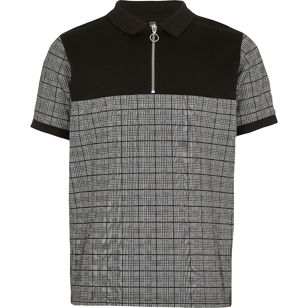 29d628c6b Boys black check zip neck polo shirt - Polo Shirts - boys