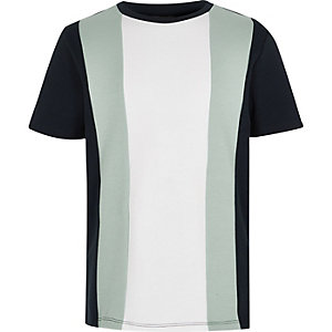 Boys navy colour block T-shirt