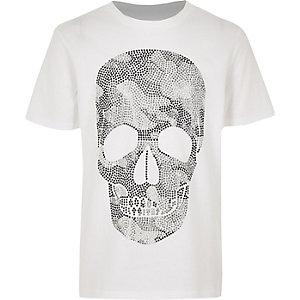 T-shirt blanc motif tête de mort à strass pour garçon
