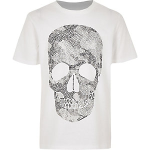 Wit T-shirt met doodshoofdprint en siersteentjes voor jongens