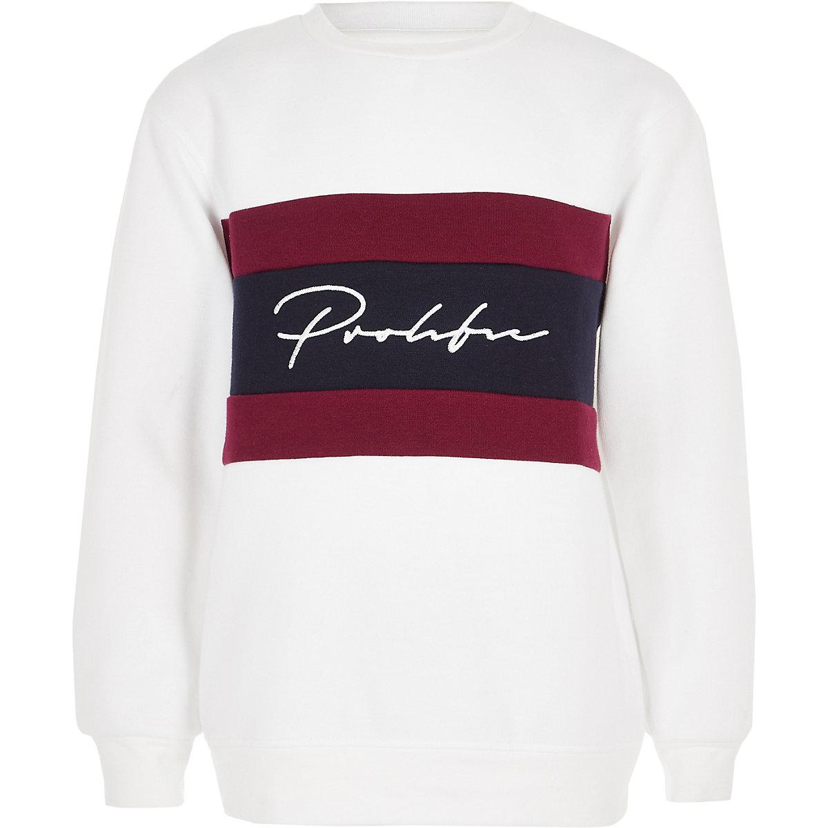 Boys white prolific block sweatshirt