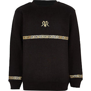 Boys black RI foil print sweatshirt