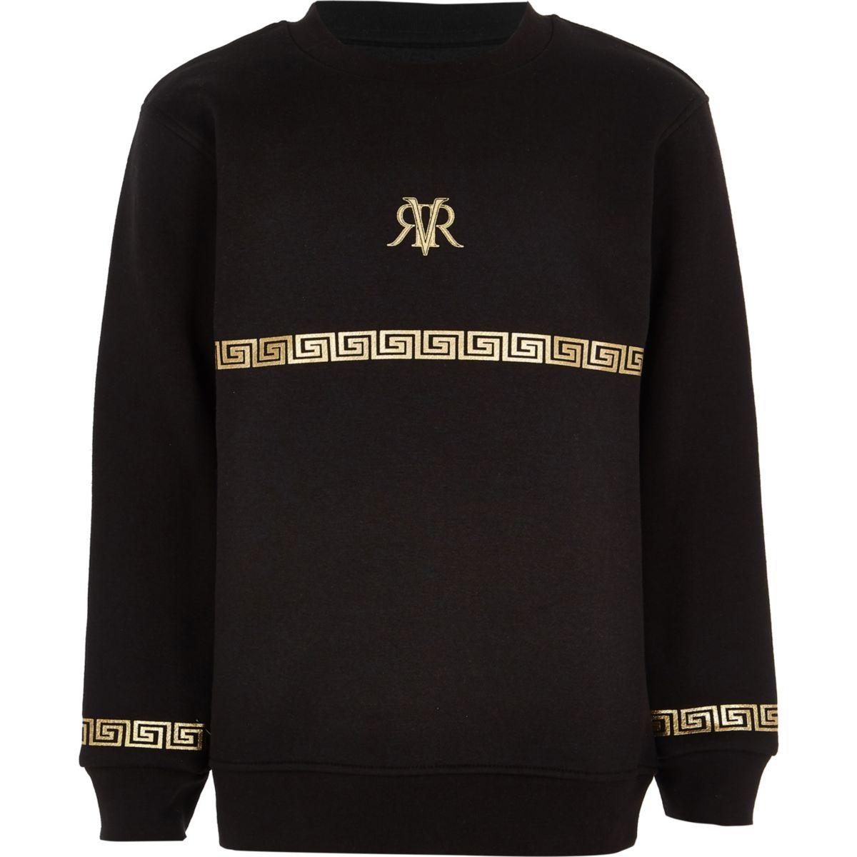Boys black RI foil print sweatshirt