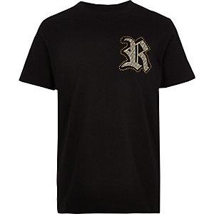 Zwart familie-T-shirt met RI-logo voor jongens