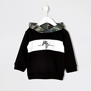 Sweat camouflage noir à capuche mini garçon