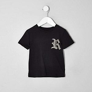 Mini - Zwart familie-T-shirt met RI-logo voor jongens