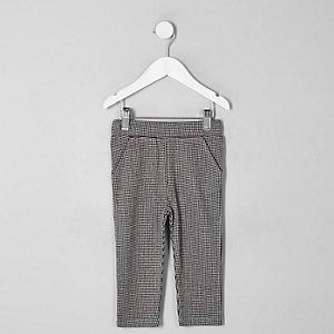 Mini boys red puppytooth check trousers
