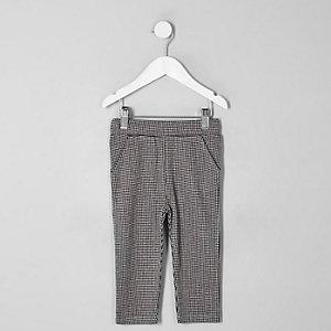 Pantalon à carreaux motif pied-de-poule rouge mini garçon