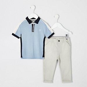 Mini - Blauwe poloshirtoutfit voor jongens