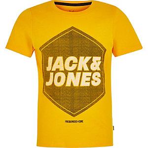 Boys Jack and Jones yellow logo T-shirt