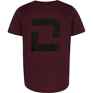 T-shirt imprimé rectangulaire bordeaux pour garçon