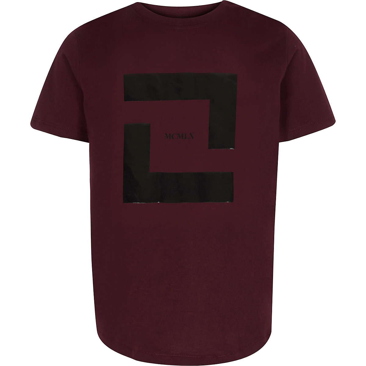 Boys burgundy box print T-shirt