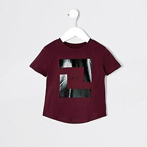 Mini boys burgundy box print T-shirt