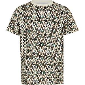 T-shirt blanc avec monogramme RI pour garçon
