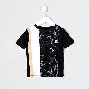 Mini boys black snake splice T-shirt
