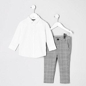 Mini - Outfit met wit overhemd met RI-logo voor jongens