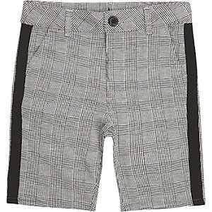 Boys grey check tape shorts