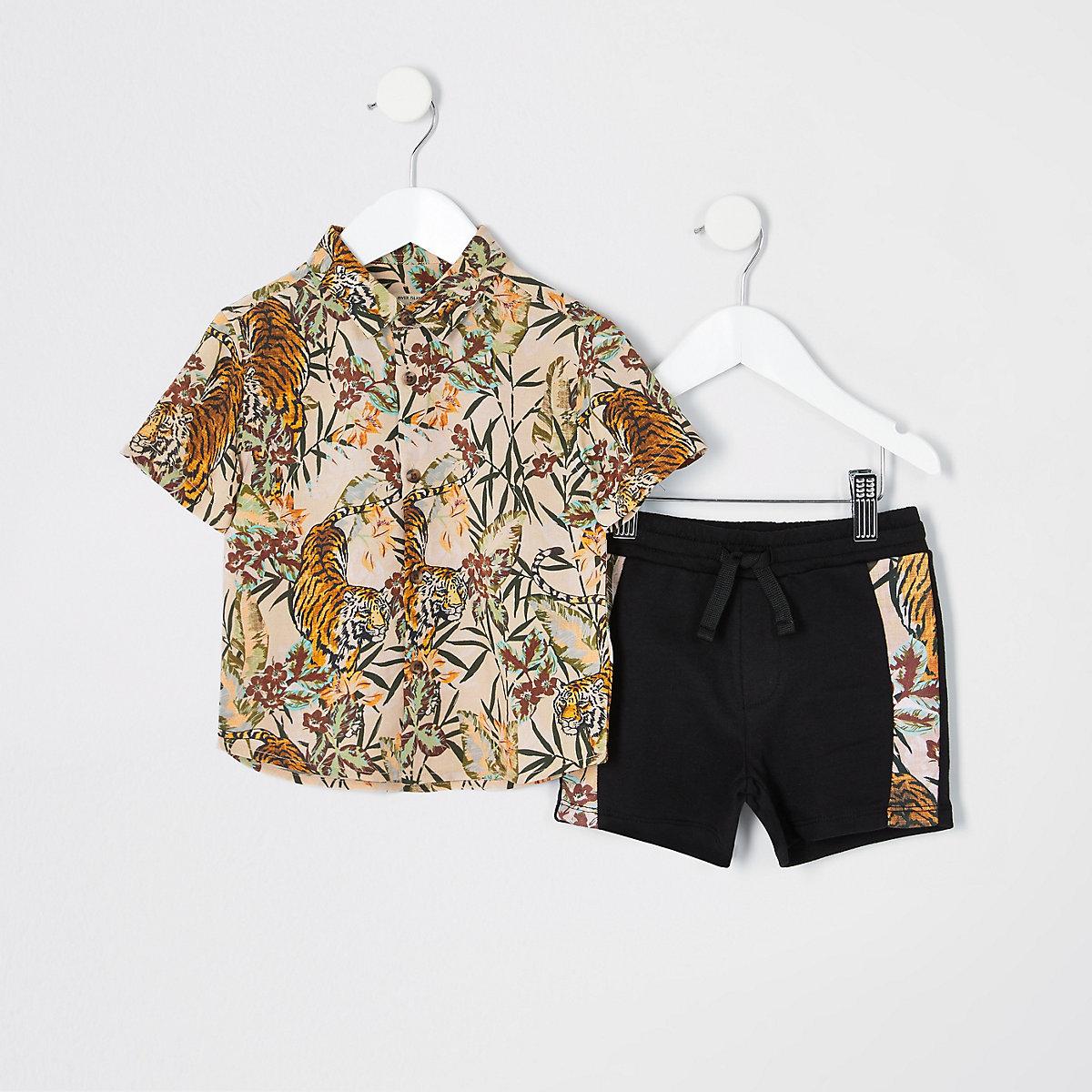Mini boys pink tiger print shirt outfit