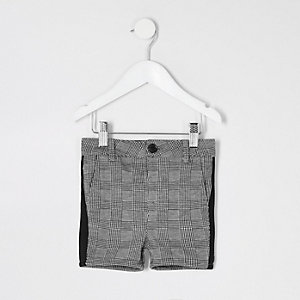 Mini boys grey check tape shorts