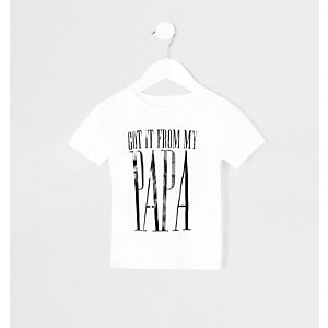 Mini - Twinning T-shirt met 'From my papa'-print voor jongens
