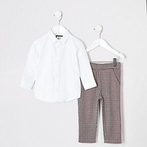Mini boys white puppytooth pant set