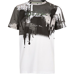 Boys white drip 'Prolific' T-shirt