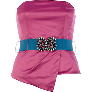 Pink asymetric satin jewelled bustier