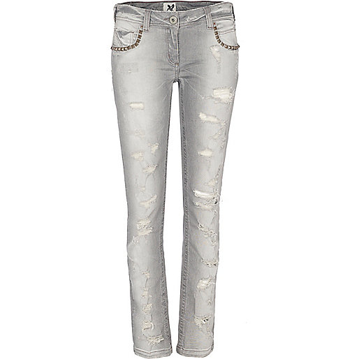 Grey skinny super ripped jeans