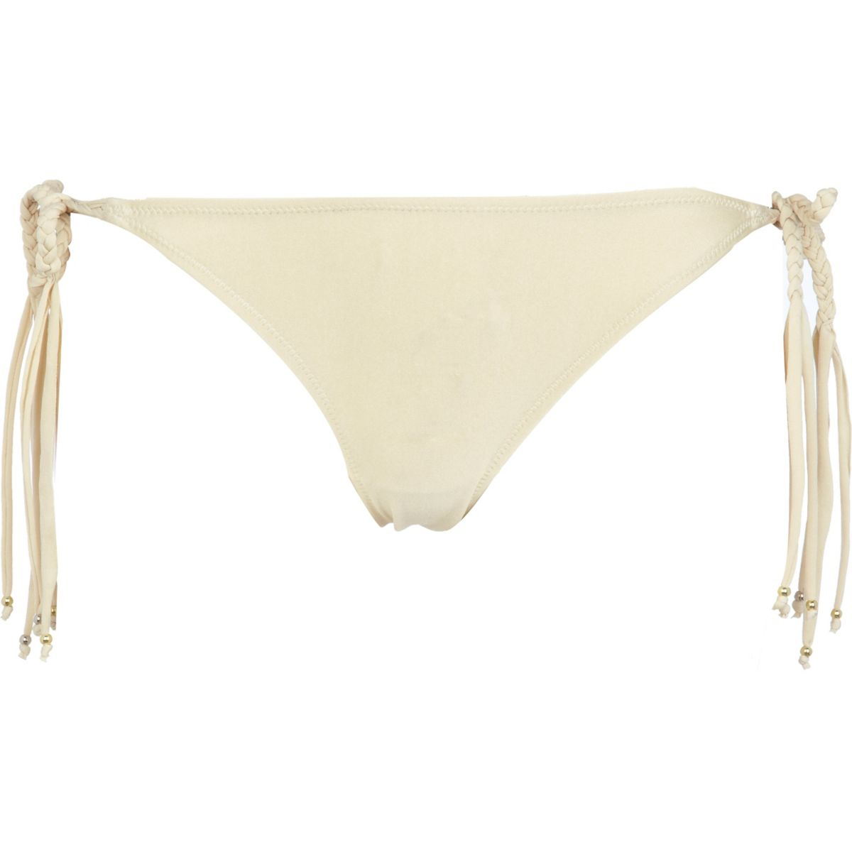 Gold macrame bikini briefs