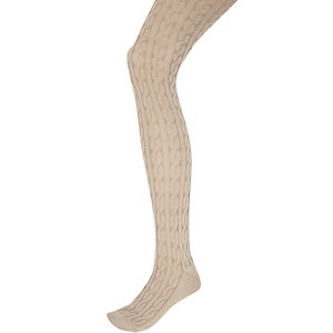 Beige chunky knit cable tights