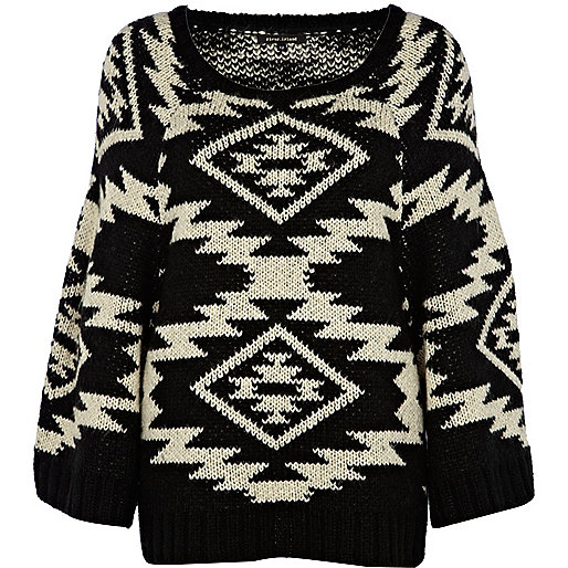 Black fairisle long sleeve sweater
