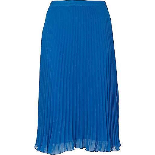 Blue pleated chiffon midi skirt - Skirts - Sale - women