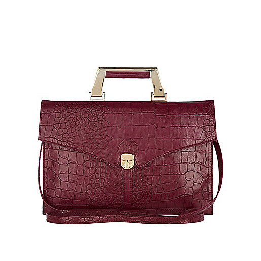 Purple crocodile print briefcase bag