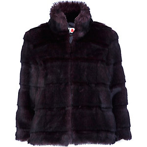 Dark purple chelsea girl faux fur coat