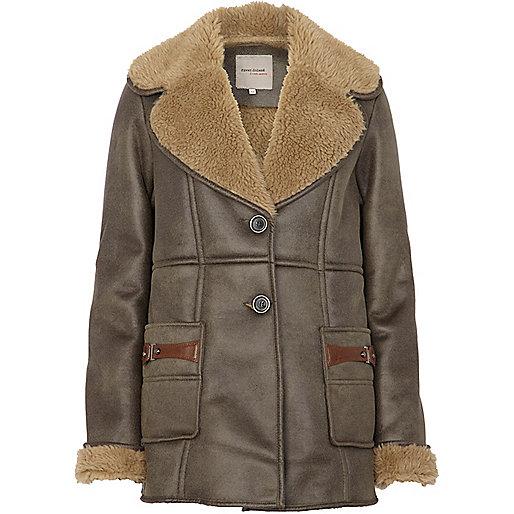 Khaki faux fur lined coat