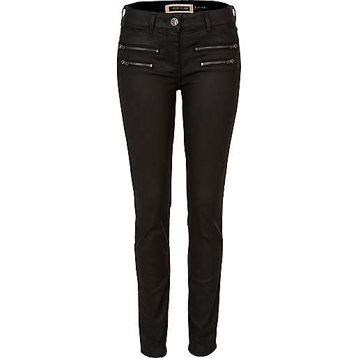 Black coated zip super skinny jeans - jeans - sale - women