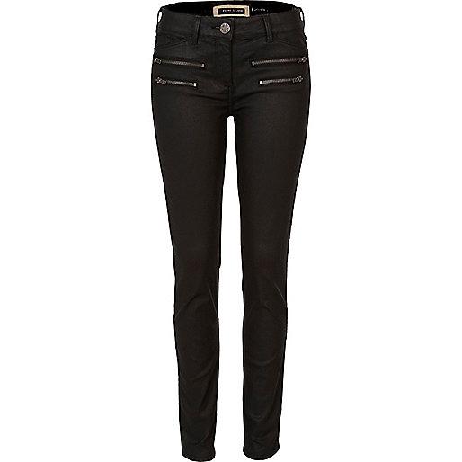 Black coated zip super skinny jeans