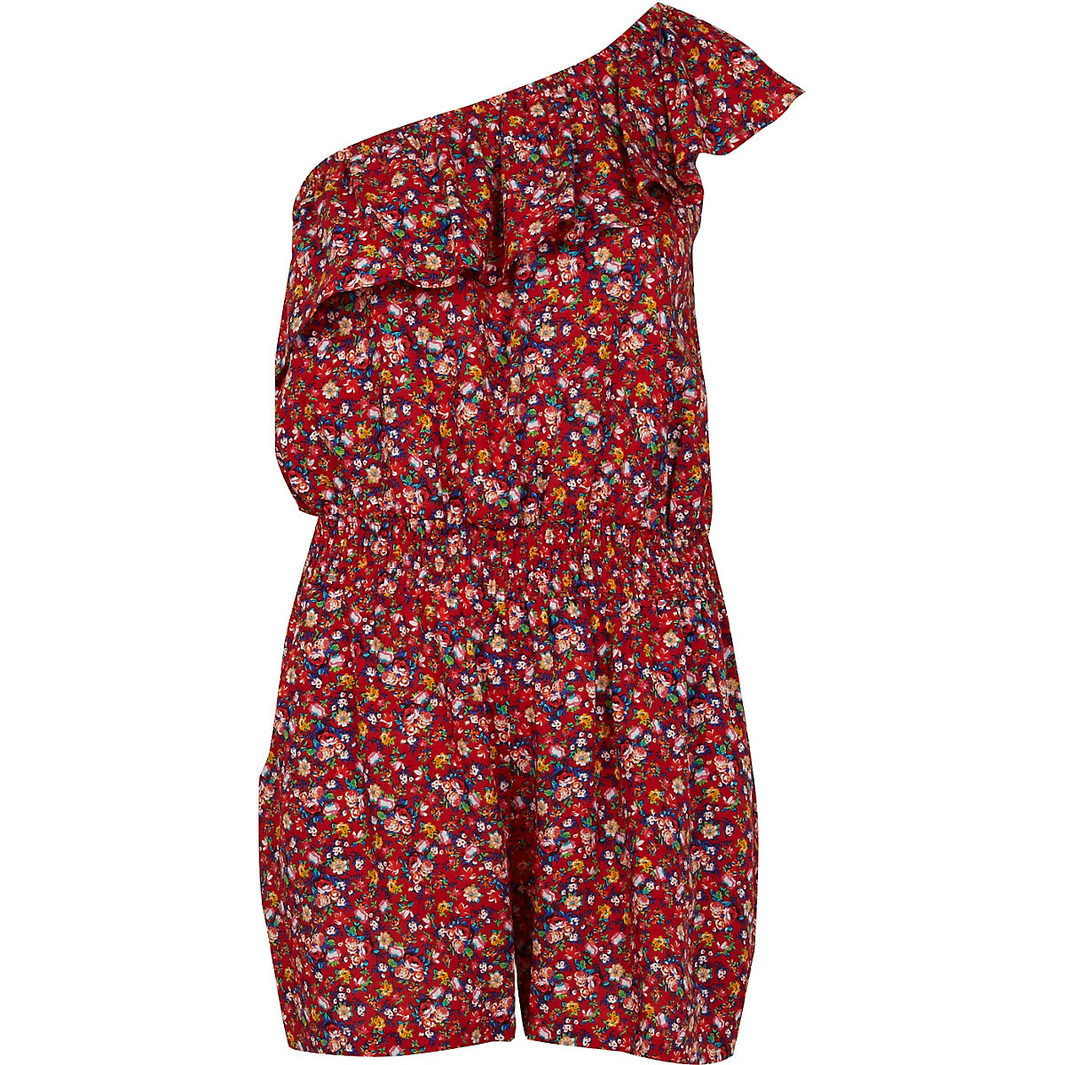 Red ditsy print one shoulder romper