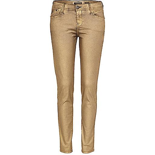 Gold metallic super skinny jeans