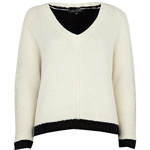 Cream color block v neck sweater