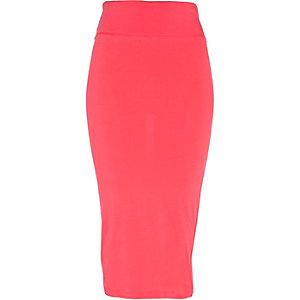 Coral midi tube skirt