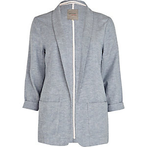 Light grey chambray longline blazer