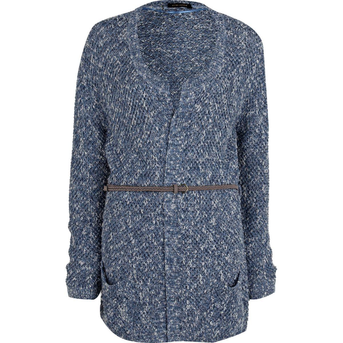Blue tuck stitch belted cardigan