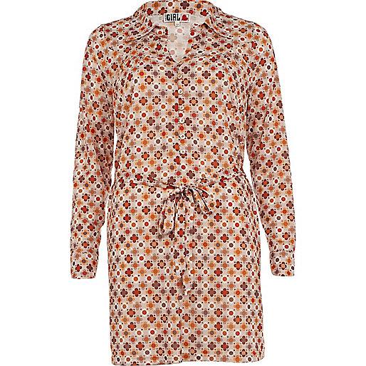 Chelsea Girl – Beiges Blusenkleid mit Print