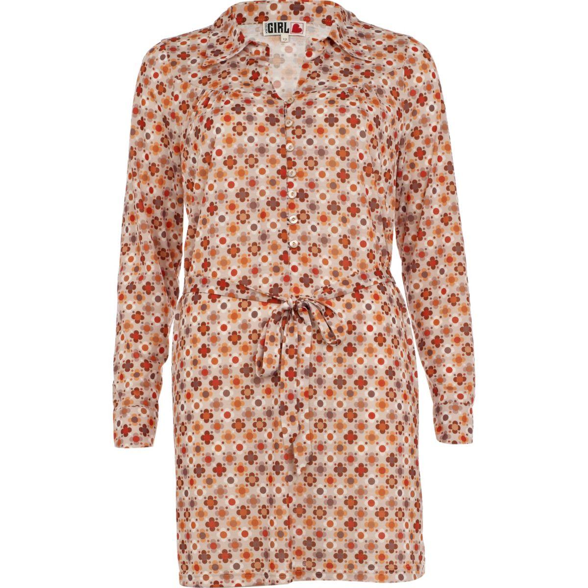 Chelsea Girl - Beiges Blusenkleid mit Print