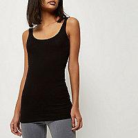 Black scoop neck longline vest