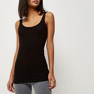 Zwart lang hemdje met lage hals