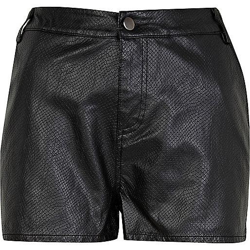 Black snake leather look shorts